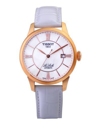瑞士名表 Tissot 天梭 白色优雅复古女士自动机械腕表T41645383