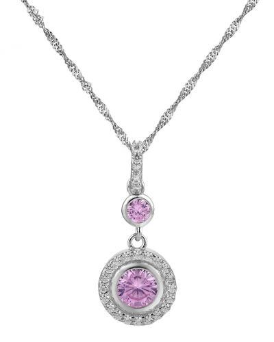 人气款 Krementz 韦文氏925银淡紫色施华洛世奇水晶时尚女士项链