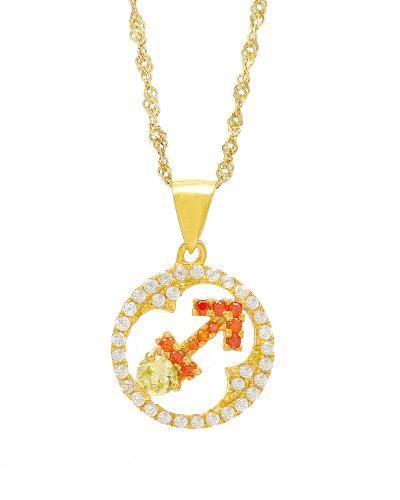 Celine Fang 赛琳·方 星座系列 925银镀金射手座圆形项链 橙+黄