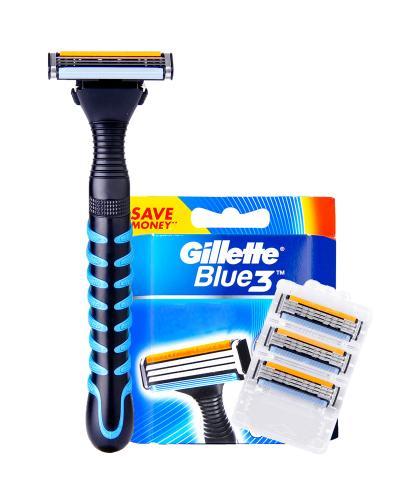美国 Gillette吉列 BLUE 3 手动剃须刀+专用剃须刀片 1支+6片
