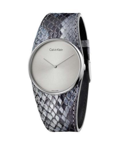 美国 Calvin Klein 卡尔文克莱因 灰色蛇纹皮革女士石英手表 K5V231Q4