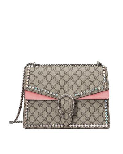 意大利 Gucci 古驰 女士镶珠串珠单肩链条包 粉色/卡其色  403348-9F2FN-8357