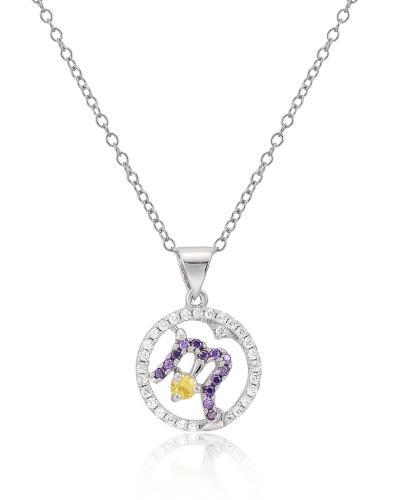 Celine Fang 賽琳·方 星座系列 925銀天蠍座圓形吊墜 紫+黃 贈送鍊子随機配送,以實物為準